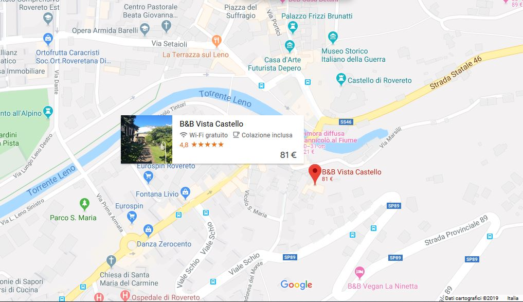 bed and breakfast vista castello rovereto mappa